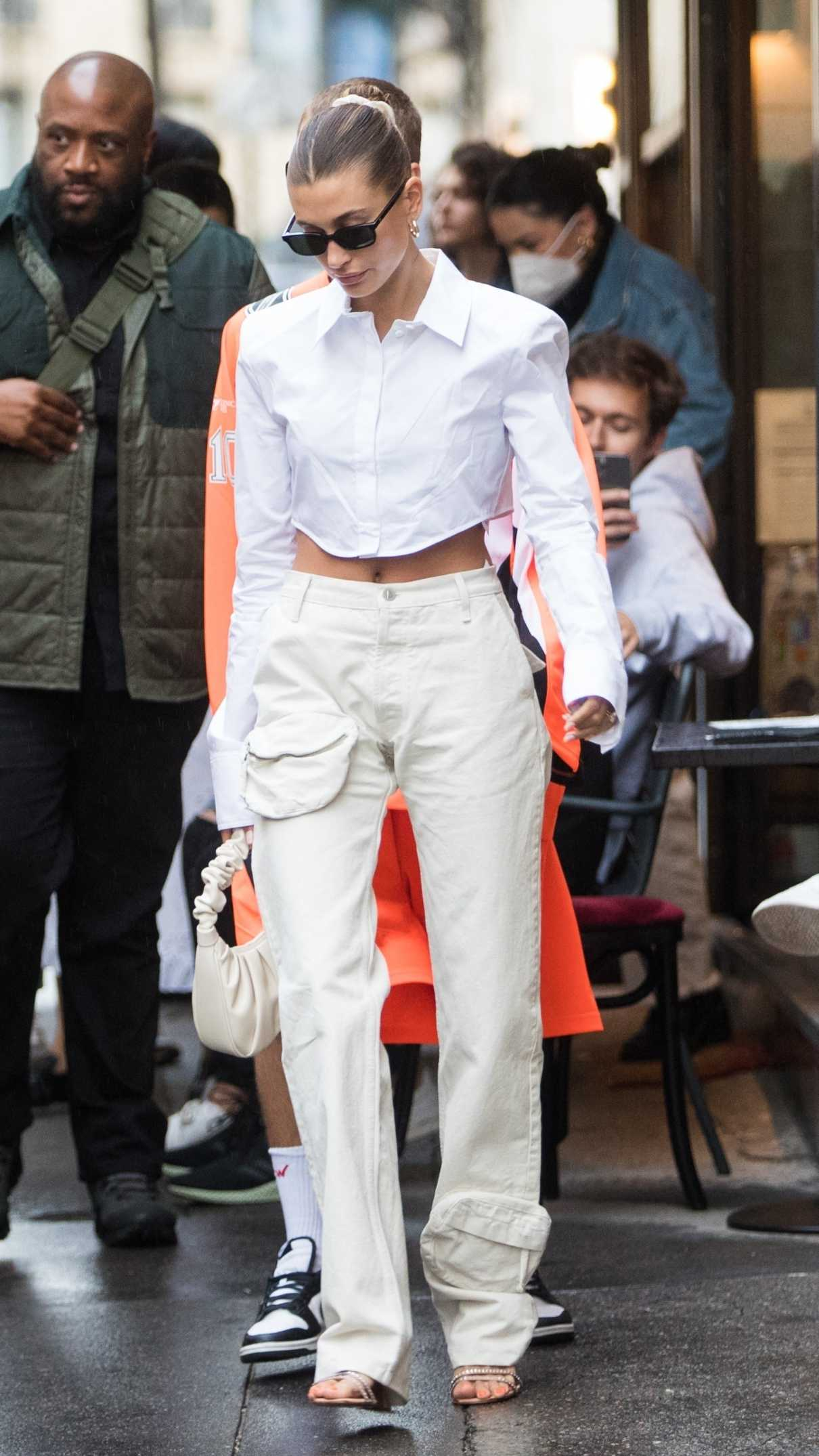 Hailey Bieber in a White Outfit