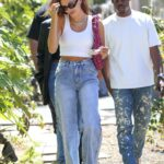 Hailey Bieber in a White Top Grabs Lunch with Friends in West Hollywood 06/09/2021