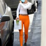 Hailey Bieber in an Orange Leggings Visits a Doctor's Office in Beverly Hills 06/16/2021