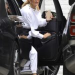 Jennifer Lopez in a White Sweatsuit Arrives at Ben Affleck's Home in Brentwood 06/03/2021