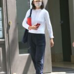 Katie Holmes in a White Gucci Sneakers Leaves Her Apartment in New York 06/29/2021