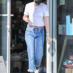 Kristen Stewart in a White Tee Leaves the Stark Waxing Studio in Los Angeles 06/29/2021