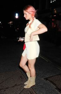 Lottie Moss in a Mini Buttoned Up Dress