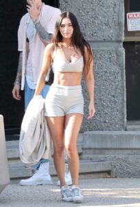 Megan Fox in a Beige Sports Bra