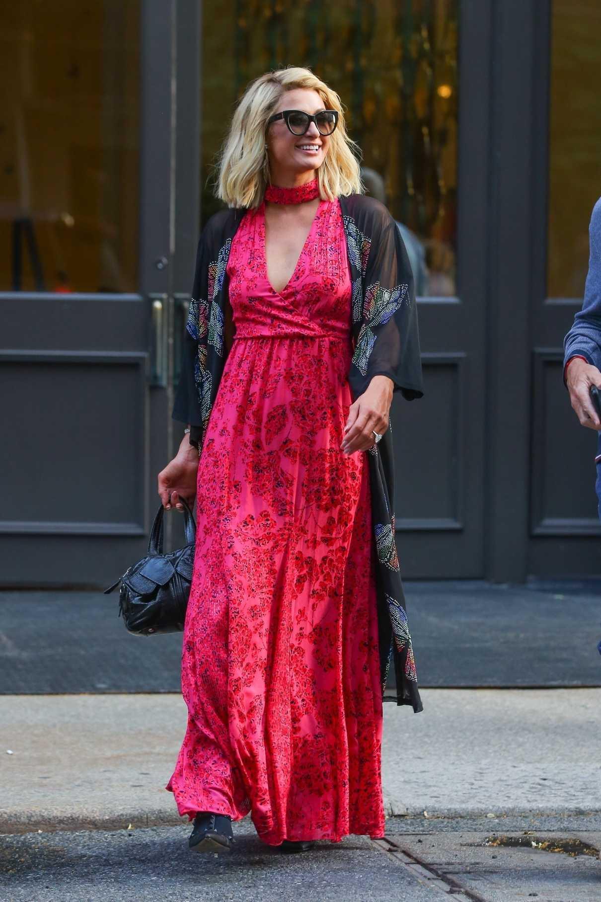 Paris Hilton in a Red Floral Dress