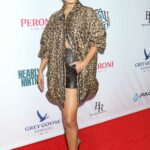 Vanessa Hudgens in an Animal Print Oversized Shirt Attends Asking For It Red Carpet in New York City 06/12/2021