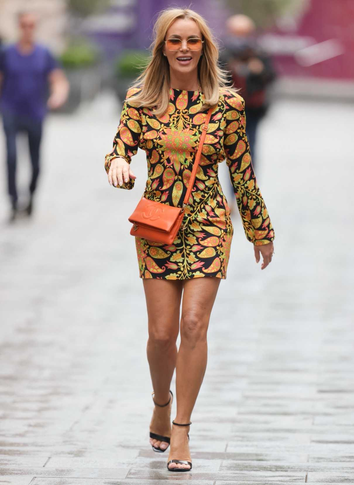 Amanda Holden in a Patterned Mini Dress