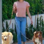 Aubrey Plaza in a Pink Tee Walks Her Dogs in Los Feliz 07/17/2021