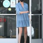 Charlize Theron in a Blue Dress Leaves a Dance Class in Los Angeles 07/22/2021