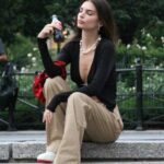 Emily Ratajkowski in a Black Cardigan Filming a Coca-Cola Commercial in New York 07/13/2021