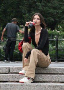Emily Ratajkowski in a Black Cardigan