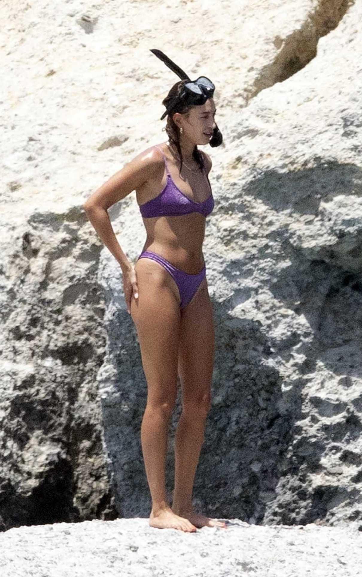 Hailey Bieber in a Purple Bikini