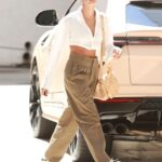 Hailey Bieber in a Tan Pants Arrives at a Meeting in Beverly Hills 07/01/2021