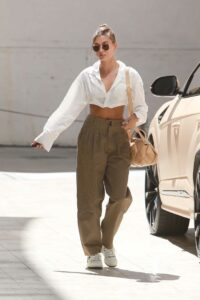 Hailey Bieber in a Tan Pants
