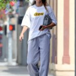 Hailey Bieber in a White Tee Leaves the Voda Spa in West Hollywood 07/26/2021