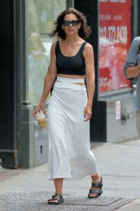 Katie Holmes in a White Skirt