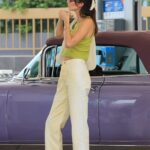 Kendall Jenner in a Green Top Makes a Pit Stop at the Gas Pump in Malibu 07/24/2021