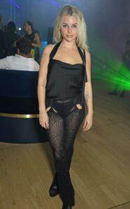 Lottie Moss in a Black Outfit