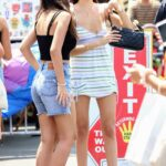 Madison Beer in a Striped Summer Mini Dress Spends the Afternoon with Friends at the Flea Market in Los Angeles 07/11/2021