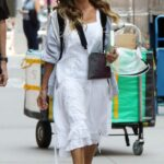 Sarah Jessica Parker in a White Dress on the Set of And Just Like That in New York 07/15/2021