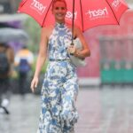 Vogue Williams in a Floral Print Summer Dress Arrives at the Heart Radio in London 07/04/2021