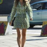 Vogue Williams in a Green Floral Mini Dress Arrives at Steph's Packed Lunch in Leeds 07/08/2021