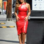 Addison Rae in a Red Form Fitting Dress Arrives at Jimmy Kimmel Live! Show in Hollywood 08/10/2021