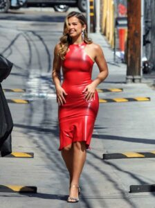 Addison Rae in a Red Form Fitting Dress