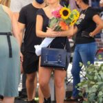 Addison Rae in a Tiny Black Shorts Buys Flowers at the Farmers Market in West Hollywood 08/29/2021