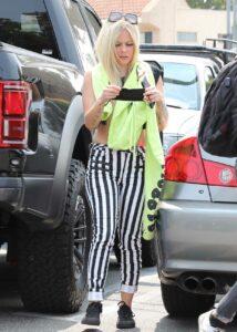 Avril Lavigne in a Striped Pants
