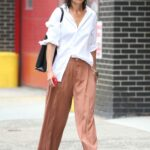 Katie Holmes in a White Shirt Was Seen Out in New York 08/03/2021