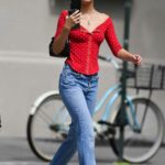 Lily-Rose Depp in a Red Polka Dot Blouse Was Seen Out with a Friend in New York City 08/17/2021