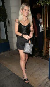 Lottie Moss in a Black Mini Skirt