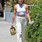 Lucy Hale in a White Top Goes Shopping in Los Angeles 08/03/2021