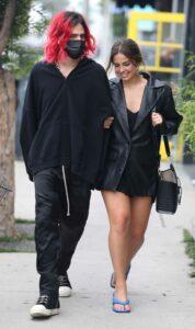 Addison Rae in a Black Leather Blazer