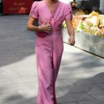Amanda Holden in a Pink Jumpsuit Leaves the Global Radio Studios in London 09/21/2021