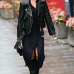 Ashley Roberts in a Black Leather Jacket Arrives at the Global Radio Studios in London 09/27/2021