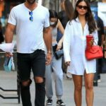 Eiza Gonzalez in a White Shirt Steps Out for Dinner with Paul Rabil in New York 09/11/2021
