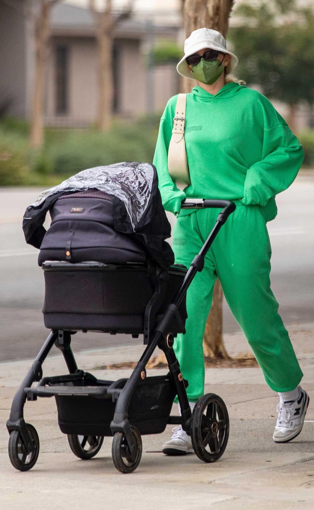 Elsa Hosk in a Neon Green Sweatsuit