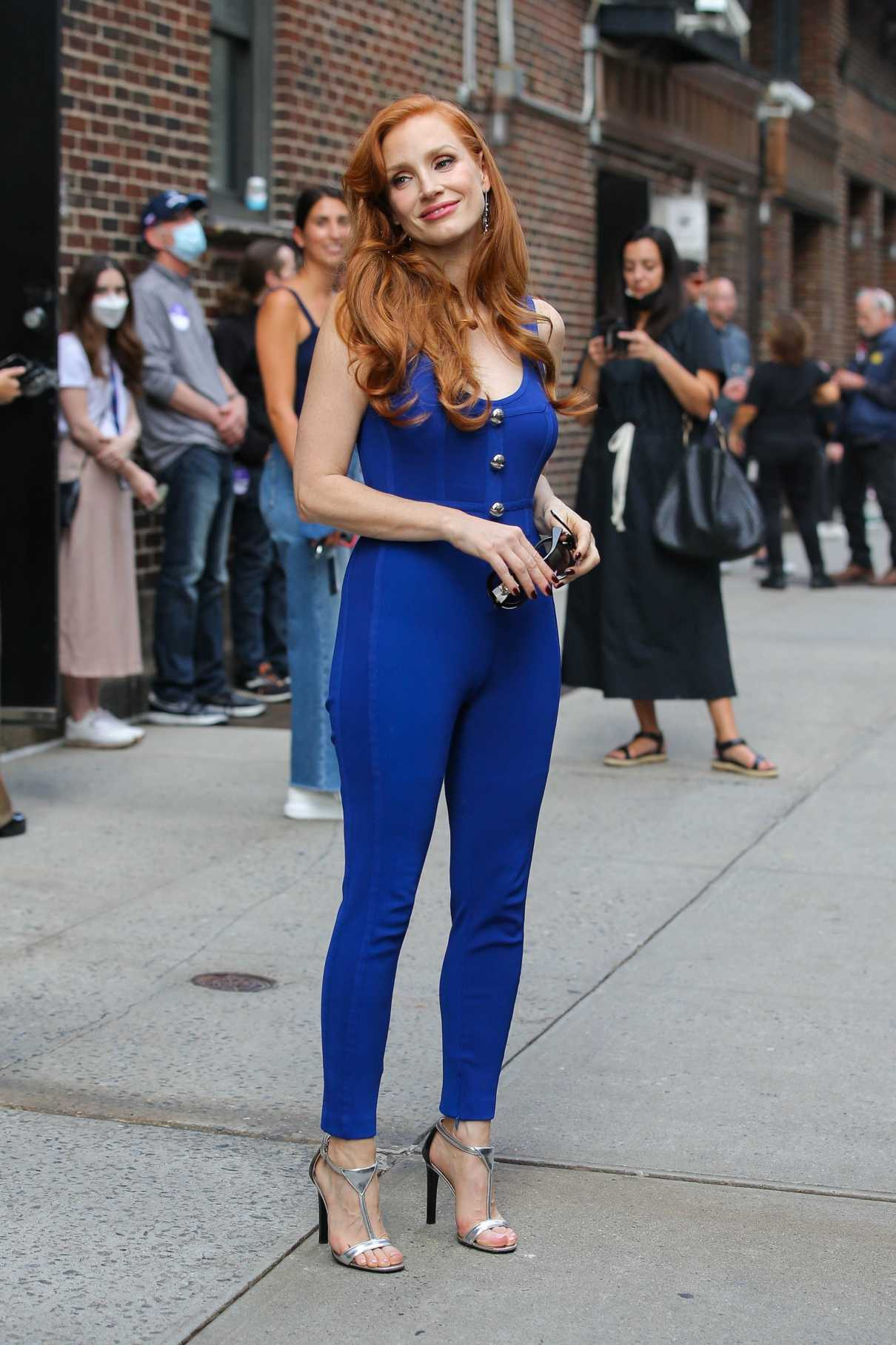 Jessica Chastain in a Blue Catsuit