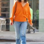 Katie Holmes in an Orange Sweater Was Seen Out in New York 09/08/2021
