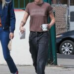 Kristen Stewart in a Brown Tee Was Seen Out with Dylan Meyer in Los Angeles 09/18/2021