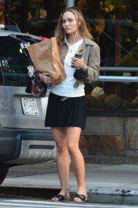 Lily-Rose Depp in a Black Mini Skirt