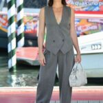 Ruth Wilson in a Grey Suit Arrives at the 78th Venice International Film Festival in Venice 09/04/2021