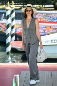 Ruth Wilson in a Grey Suit