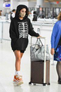 Vanessa Hudgens in a Black Skeleton Print Hoodie
