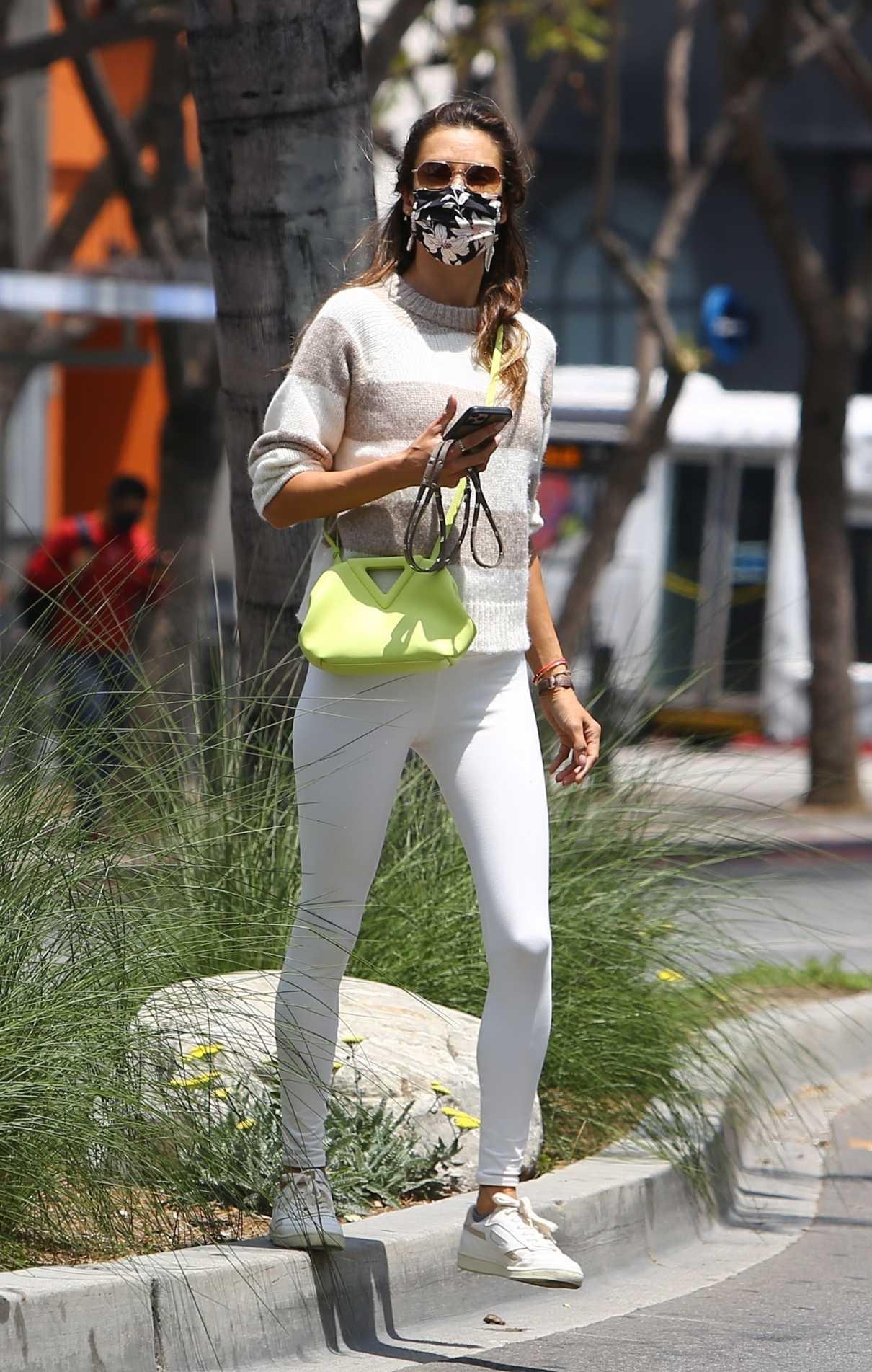 Alessandra Ambrosio in a White Leggings