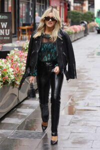 Ashley Roberts in a Black Leather Jacket