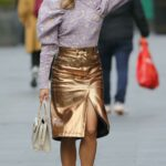 Ashley Roberts in a Gold Skirt Arrives at the Global Radio Studios in London 10/20/2021