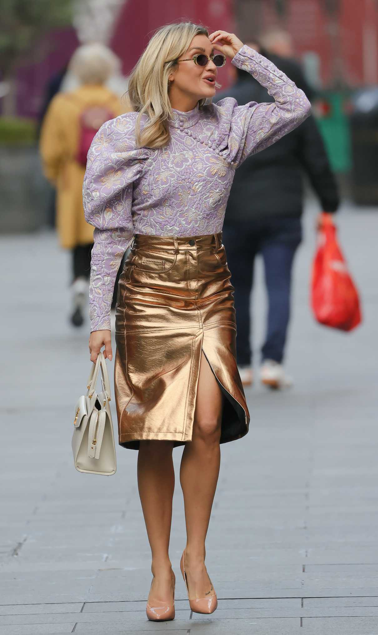 Ashley Roberts in a Gold Skirt